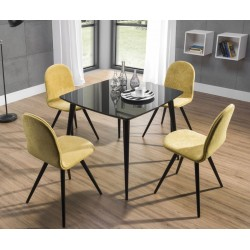 FESSAI Square Glass Top Dining Table